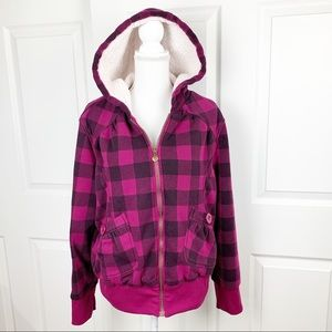 Dollhouse Outerwear Pink Checkered Thick Jacket